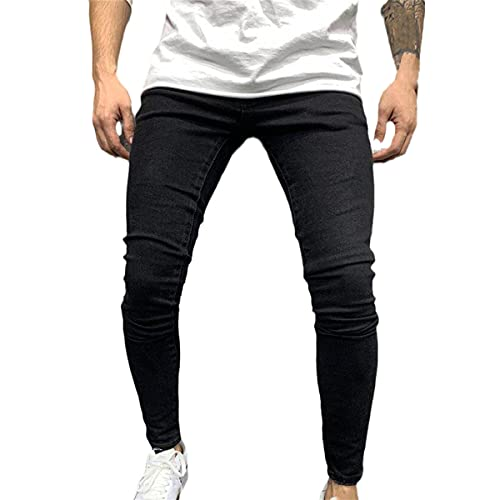 Faxkjeuls Pantalones deportivos para hombre Sexy Ripped Jeans Casual Verano y Otoño Ripped Leggings Slim Locomotora Exterior Pantalones, C, 41-44.5
