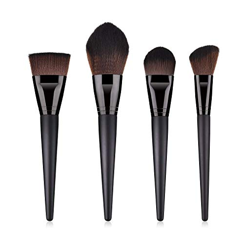 JFFFFWI 4 pcs pinceaux de Maquillage mis en Poudre Libre Fard à paupières Pinceau Maquillage Nuage pour Contour du Visage Facile à appliquer (Couleur: Noir)