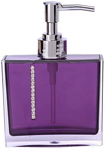 Dispensador de jabón de la bomba, botella de loción clara púrpura plaza Contenedores Brillante decoración de cristal con la mano del cromo de la bomba de boquilla Aplicar for Baño de cocina de