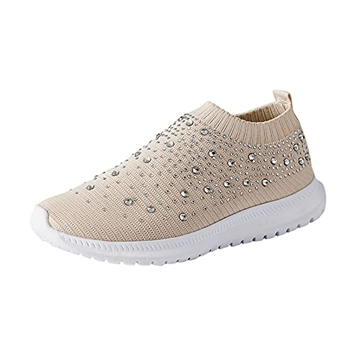 Zapatillas Mujer Running Sneakers Cordones Zapatos de Deportivas Transpirables Zapatillas De Deporte Ligeras(M21_Khaki,40)