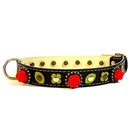 Superpipapo Hunde-Halsband, Handmade Schwarz Leder für Kleine und Mittelgroße Hunde, Einzigartig Gothic Floral mit Rote Rosen und Grüne Blätter, 40 cm XS-Wide: Halsumfang 25-30 cm, Breit 28mm