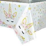 WERNNSAI Mantel del Unicornio - 110 x 180 cm Suministros de Fiesta Unicornio Mágicopara Niños Chicas Cumpleaños Boda Baby Shower Decoración, Mantel Plastico Desechable para Mesa Rectangular
