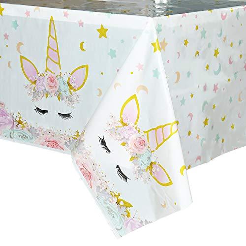 WERNNSAI Mantel del Unicornio - 4 Piezas 110 x 180 cm Suministros de Fiesta Unicornio Mágicopara Niños Chicas Cumpleaños Boda Baby Shower Decoración, Mantel Plastico Desechable para Mesa Rectangular