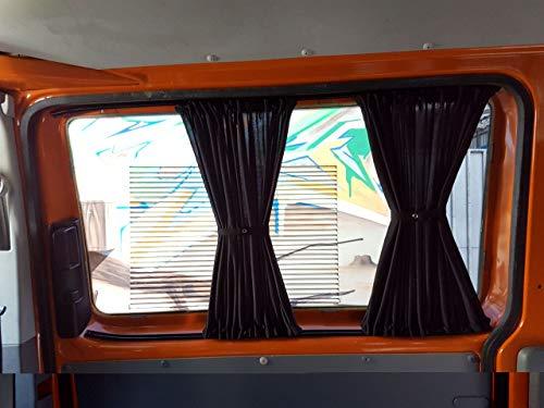 T5 und T6 Transporter kurzer Radstand Maß Gardinen Vorhänge Sonnenschutz mit Heckklappe Farbe: Schwarz