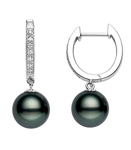 14 K oro blanco calidad AAA negro perla tahitiana pendientes de aro de diamante