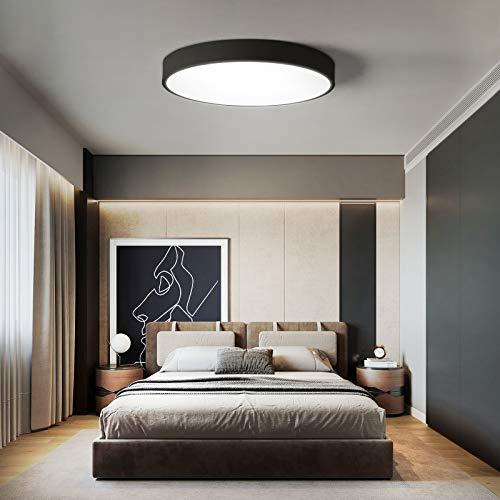 NEWSEE LED Deckenleuchte Deckenlampe Kaltweiß Warmweiß Rund Modern Mit Fernbedienung Deckenleuchten Schlafzimmer Licht Küche Lampen Wohnzimmerlampe Kinderzimmer Lampe IP20 (Schwarz 50cm 36W Dimmbar)