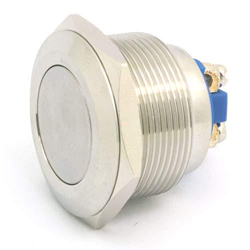 DollaTek 25mm Interruptor de botón de reinicio plano 12V DC Angel Eye LED Interruptor redondo redondo de acero inoxidable impermeable con pie de tornillo - Astilla