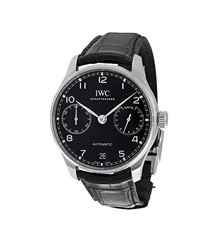 Iwc da uomo 42 mm Black Leather Band Steel case Automatic Analog Watch...