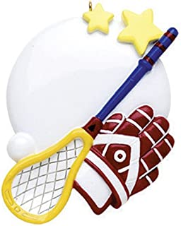 Personalized Lacrosse Christmas Tree Ornament 2019 - Round White Ball Stick Crosse Gloves Star Athlete Sport Coach Hobby Active School Catcher Shooter Profession Year - Free Customization