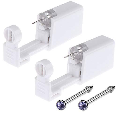 Nose Piercing Gun - Beautylu 2 Pack Self Nose Piercing Kit Unit Safety Disposable Nose Piercing Gun with Nose Stud Piercing Kit Tool for Cartilage Piercing Gun Piercing Jewelry