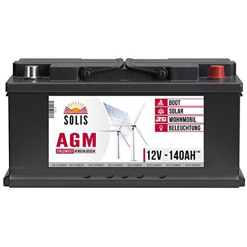SOLIS Solarbatterie 12V 140Ah AGM Batterie Versorgungsbatterie Wohnmobil Verbraucher Boot Wohnwagen Camping Batterie zyklenfest (140AH 12V)