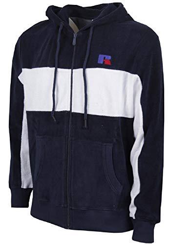 Russell Athletic Through Veste à Capuche avec Embroidery Blue Navy-White M Bleu Marine/Blanc.