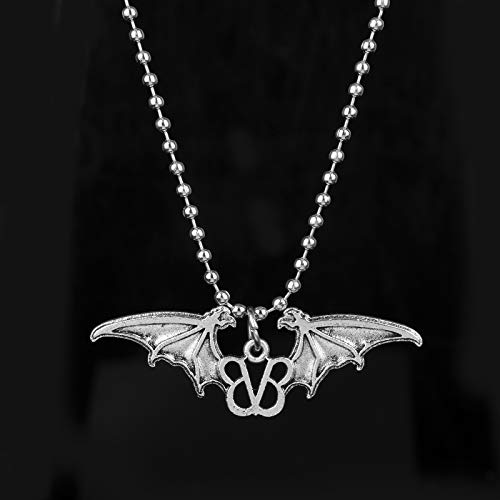 XCVBN Music Band Black Veil Brides Choker Necklace Rock Band Logo with Bat Wings Pendant Necklace For Men Women Giftss