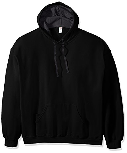 Fruit of the Loom Men's Hooded Sweatshirt,Black,XXX-Large