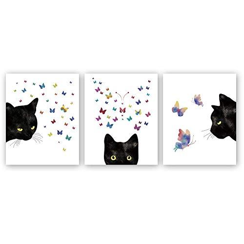 KAIRNE 3er Set Kinderzimmer Babyzimmer Poster | Bild Katze Schwarz | Katzen Tiere Bilder Set | Farbiger Schmetterling Katzenposter | Wandbilder Schlafzimmer für Wohnzimmer Home Decor ohne Rahmen