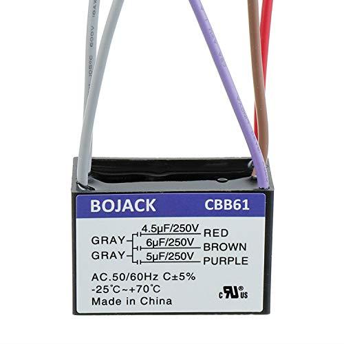 BOJACK CBB61 4.5uF + 6uF + 5uF 250V AC Condensador de arranque para ventilador de techo compatible con Harbor Breeze y New Tech 5 cables (paquete de 1 pieza)