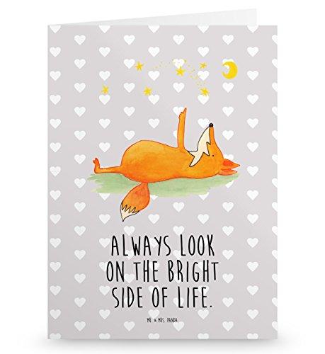 Mr. & Mrs. Panda Geburtstagskarte, Glückwunschkarte, Grußkarte Fuchs Sterne mit Spruch - Farbe Grau Pastell
