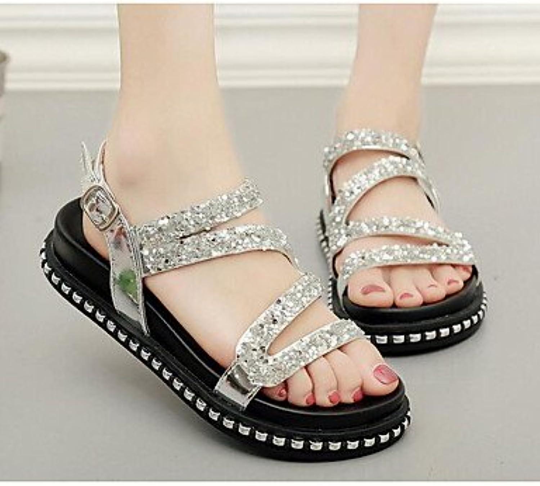 Women 039 s Sandals Comfort PU Summer Casual Comfort Silver Black 2in-2 3 4inSilverUS6 EU36 UK4 CN36