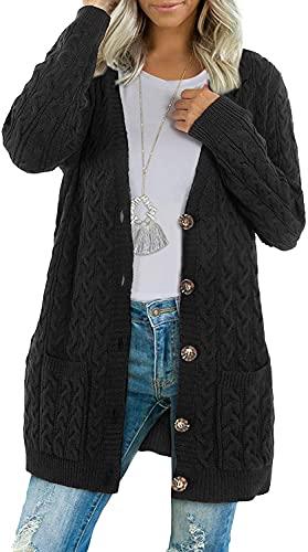BMJL Cárdigan Mujer Manga Larga Chaqueta Punto Suelta Jersey Frente Abierto Botones Cardigan Abrigos(Large,Negro)
