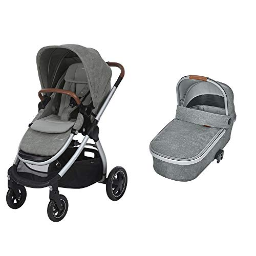 Maxi Cosi Adorra Kombi Kinderwagen, ab Geburt bis ca. 3,5 Jahre mit Maxi-Cosi Oria, große Babywanne für Maxi-Cosi Buggy, nomad grey