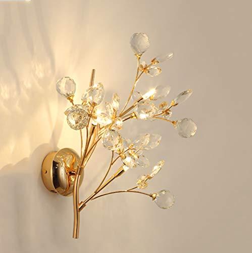 Lámpara de pared LED villa de cristal de hardware de oro cobrizo iluminación de la pared de color diámetro del material altura 34cm 47cm Estilo moderno diseño nórdico salón dormitorio 3 llamas