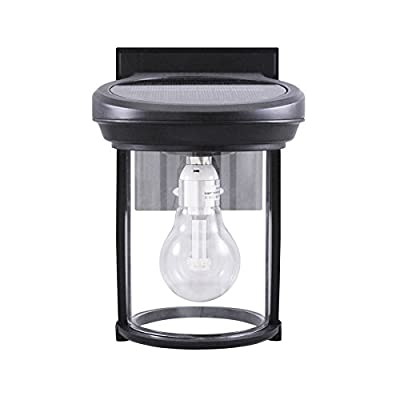 Gama Sonic GS-1B-WB Coach Lantern, Wall Mount Sconce, Outdoor Solar Light Fixture, Warm White LED, Weathered Bronze