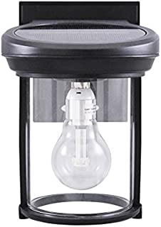 Gama Sonic GS-1B Coach Lantern Outdoor Solar Light Fixture, Wall Mount Sconce, Black