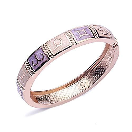UJOY 12 Constellation Charm Bangle for Women Open Cuff Enamel Bracelet for Lady Vintage Jewellery Gift,Purple