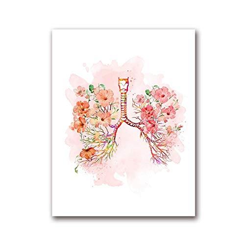 XQWZM Lungen und Blumen Print Poster, Bronchien Aquarell medizinische Anatomie Lungen Wand Kunst Leinwand Gemälde, für anatomische Medizin Arzt Büro Dekor 50 X 70 cm