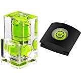 Anwenk Hot Shoe Level Camera Bubble Level Hot Shoe Spirit Level Hot Shoe Cover (Includes 2 Axis Bubble Level and 1 Axis Hot Shoe Cover) Combo Pack