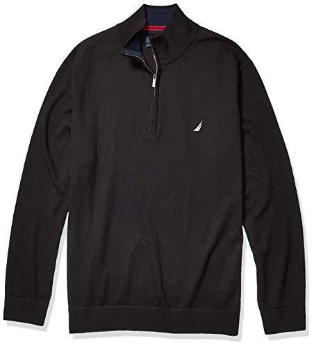 Nautica Men's Big and Tall Navtech Quarter-Zip Sweater, True Black, 3X-Large