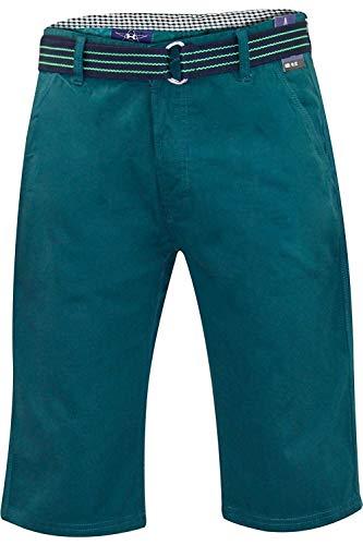 Kushiro City Uomo Ryan Pantaloncini Cotone Lunghezza al Ginocchio Chino Pantaloni con Tessuto Gratis Cintura - Verde Teal, Vita 28