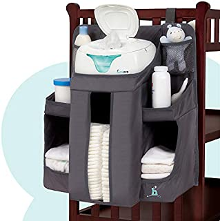 Organizador para el cuarto del bebé y contenedor de pañales Hiccapop | organizador de almacenamiento para las cosas esenciales y para colgar pañales| para colgar en la cuna, pared on en la mesa cambiador, Gris carbón