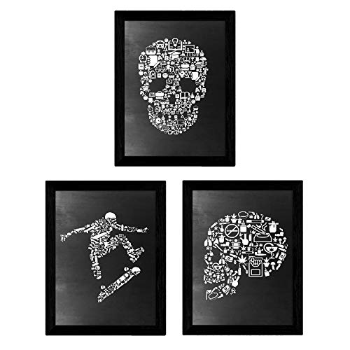 Set de tres láminas blanco y negro Set calaveras y skate Tamaño A4 Poster Fondo negro estilo pizarra Sin Marco