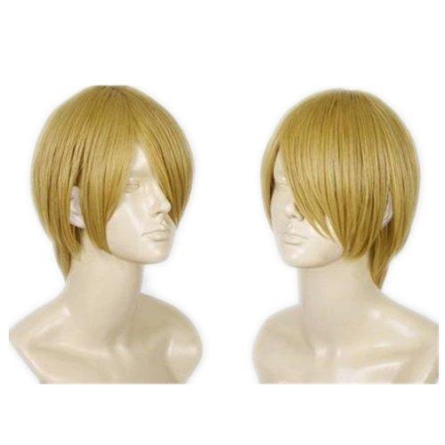 COSPLAZA Cosplay Kostüme Perücke kurz Blond Halloween Party Haar mit Perückennetz One Piece Sanji Fasching