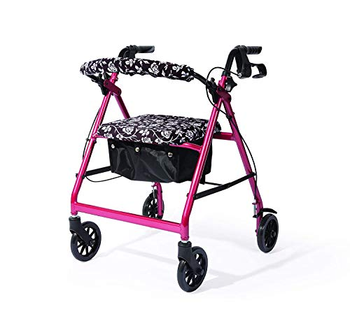 North American Health & Wellness Rollator Cover Set (Rose Floral Design Pattern)