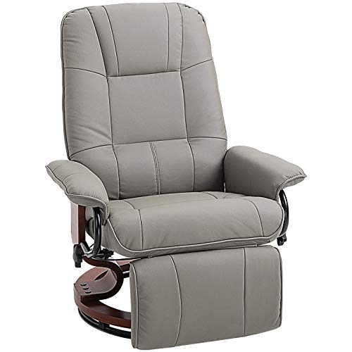 HOMCOM Faux Leather Adjustable Manual Swivel Base Recliner Chair with...