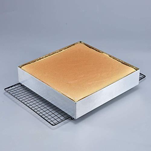 Kuchenform,Erhöhung der goldenen quadratischen Tablett Kekse Nougat Kuchenrolle Ofenform Große Kapazität 28 * 28 * 6CM