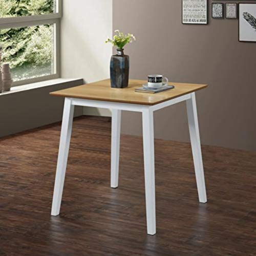 GOLDFAN Small Dining Table Wood Kitchen Table Square Table for Dining Room 70cm, White(Only Table)