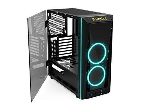GAMDIAS RGB Gaming Mid-Tower Case Left...