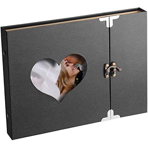 Fotoalbum 27x19cm, Scrapbook Album für 10x15cm Foto bis zu 120(Spiral-Album mit 30 schwarzen Seiten, Album zum Einkleben und Selbstgestalten), Schwarz