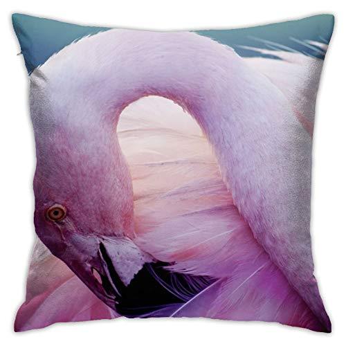 June flower Funda de almohada decorativa para el hogar, diseño de flamenco, color rosa, para regalo, hogar, sofá, cama, coche, 45,72 x 45,72 cm