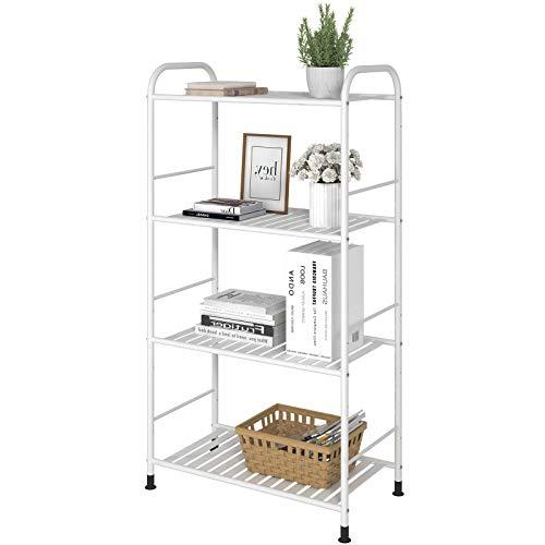 GHQME Estantería de metal con 4 estantes, para libros, cocina, para cargas pesadas, para esquina, para flores, color blanco, 4 estantes.