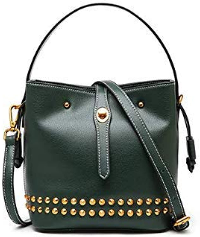 Bloomerang Arlanfivis Genuine Leather Fashion Designer Small Crossbody Bags Women Leather Handbag Rivet Bucket Bolsa Purse Tote Quality Bag color Green color 18cm 13cm 19.5cm