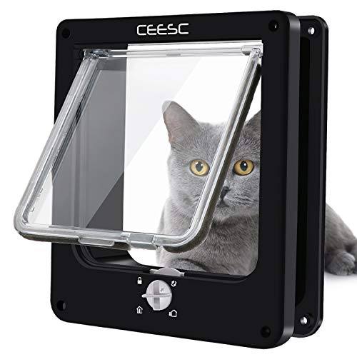 CEESC Cat Doors, Magnetic Pet Door with Rotary 4 Way Lock for Cats, Kitties and Kittens (Medium, Black)