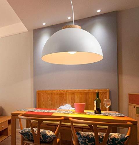 CKQ-KQ Hanglampen Modern Led Hanglampen E27 Ronde Witte Houten Dining Light Metal lampenkap Opknoping Lamp Iron Onderstel Verlichting, 40cm (Color : 25cm)