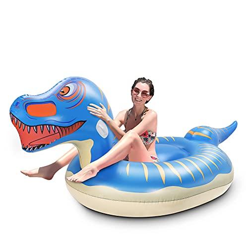 Jojoin Super Größe Dinosaurier Luftmatratze, 280×130×110cm Aufblasbares Dinosaurier Pool Floß, Aufblasbar Schwimmen Sommer Spielzeug im Freien mit Reparaturpflaster für Erwachsene und Kinder