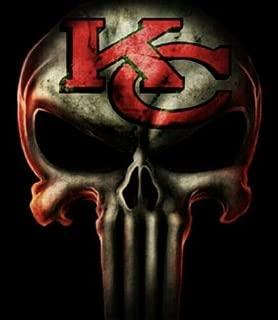 Set of 2 Kansas City Chiefs Punisher Decal Skull Sticker Laptop Car Sticker Truck Window Bumper Vinyl Logo Helmet