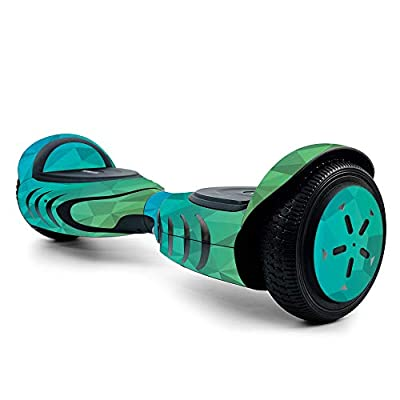 MightySkins Skin for Tomoloo Hoverboard Self Balancing Scooter - Blue Green Polygon | Protective, Unique Vinyl Decal wrap Cover | Easy to Apply, Remove, and Change Styles | Made in The USA