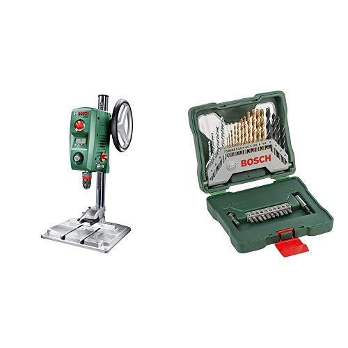 Bosch Home and Garden 0603B07000 Trapano a Colonna per Acciaio e Legno, 710 W, Verde13 mm e 40 mm + Valigetta da 30 unità per forare e avvitare